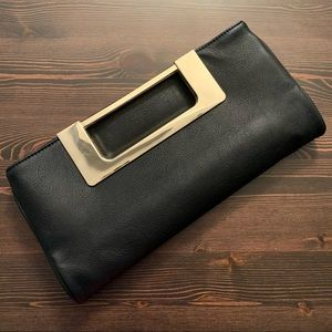 JustFab Black Faux Leather Fold-Over Clutch